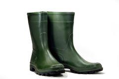 Green Boot. Rain green boot for gardening Royalty Free Stock Image