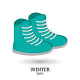 Green boots winter wear shoes vector illustration