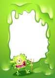 A green border design with a green death monster Stock Photos