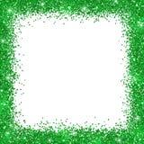 Green border frame, green glitter on white background. Vector Stock Image