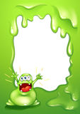 A green border template with a green monster shouting. Illustration of a green border template with a green monster shouting vector illustration