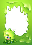 A green border template with a monster crying. Illustration of a green border template with a monster crying Royalty Free Stock Photography