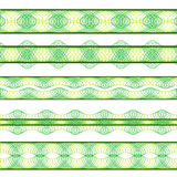 Green borders. Five stylish page border patterns colored in green shades Royalty Free Stock Images