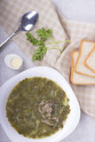 Green borsch with sorrel and boiled eggs Stock Photos