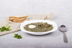 Green borsch with sorrel and boiled eggs.  Royalty Free Stock Photos