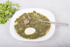 Green borsch with sorrel and boiled eggs Royalty Free Stock Photography