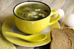 Green borsch with sorrel and egg. Green borsch with sorrel, egg and sour cream Stock Image