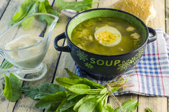 Green borsch with sorrel and egg. In the tureen royalty free stock photo