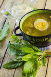 Green borsch with sorrel and egg. In the tureen royalty free stock photos