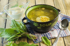 Green borsch with sorrel and egg. In the tureen stock images