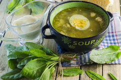 Green borsch with sorrel and egg. In the tureen stock photo