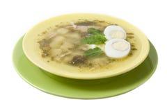 Green borsch with sour cream Stock Photo