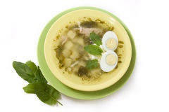 Green borsch with sour cream. Green borsch from the sorrel Royalty Free Stock Images