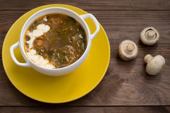 Green borscht with mushrooms. Wooden background. Top view Royalty Free Stock Images