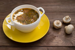 Green borscht with mushrooms. Wooden background. Top view Royalty Free Stock Photos