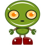 Green bot. Cartoon image of a green smiling robot character. Part of a group of BOT images stock illustration