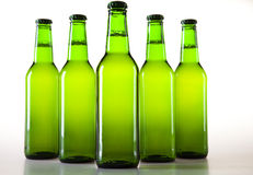 Green bottle of beer. Beer collection, glass in studio Royalty Free Stock Photos