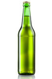 Green bottle of beer isolated on white Royalty Free Stock Photography