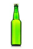 Green bottle of beer on a white background Stock Photography