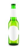 Green bottle with blank label Royalty Free Stock Images