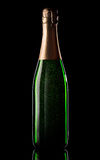 Green bottle of champagne Royalty Free Stock Photography