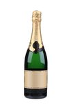 Green bottle of champagne with golden top. Royalty Free Stock Images