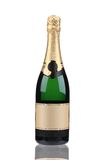 Green bottle of champagne with golden top. Stock Images
