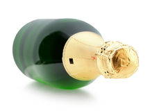 Green bottle of champagne isolated on the white background Royalty Free Stock Image