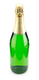 Green bottle of champagne isolated on the white background Royalty Free Stock Photography