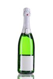 Green bottle of champagne with white top. Royalty Free Stock Photo