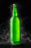 Green bottle of chilled beer Stock Photography