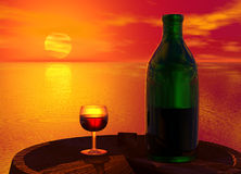 Green Bottle and Glass of Wine Stock Image