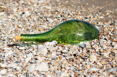 Green bottle with the message Stock Photo