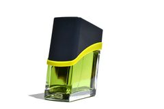 Green bottle of perfume Royalty Free Stock Image