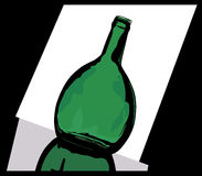 Green bottle. With a reflection on a light background Stock Images