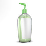 Green bottle with soap Royalty Free Stock Image