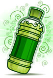 Green Bottle with swirl line Royalty Free Stock Image