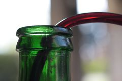 Green bottle top macro while filled with red wine. Stock Photo