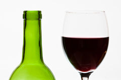 Green bottle wine and glass Stock Image