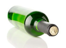 Green bottle of wine isolated on the white background Stock Images