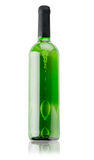 Green bottle of wine isolated on the white background Royalty Free Stock Photo