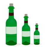 Green bottle. Of wine in old label with label Stock Photography