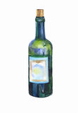 Green bottle of wine watercolor Royalty Free Stock Images