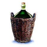 Green bottle of wine in wicker basket isolated on white Royalty Free Stock Photos