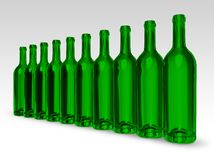 Green bottles. Line of empty green bottles on gray-white background Stock Photography