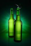 Green Bottles of beer Stock Photos