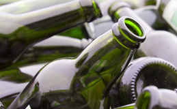 Green bottles for recycling royalty free stock photo