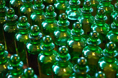Green Bottles in Rows Stock Images