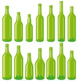 Green Bottles set Royalty Free Stock Images