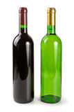 Green bottles with wine. Closed green bottles with white and red wine isolated on a white background Stock Photography